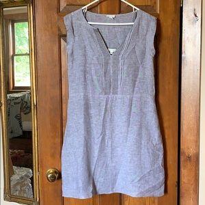 Garnet Hill 100% Linen Gray Smock Dress With Slip